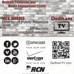 Dedham Television new business card with logo and tagline, created by Nick Iandolo with Adobe Photoshop and Vistaprint.