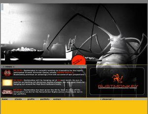 Rust Monkey Productions (R.M. Productions) website homepage, Nick Iandolo assisted in layout and copy. Daniel (Dan) G. Thron did all the artwork.